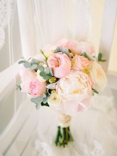 Pale pink summer bouquet: http://www.stylemepretty.com/new-jersey-weddings/2015/08/14/romantic-cape-may-wedding/   Photography: Rach Loves Troy - http://www.rachlovestroy.com/