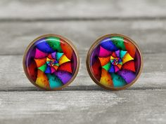 Earrings  Jewelry  12mm Abstract 11  Post or by MaDGreenCreations