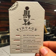 Classy Luggage tag business cards produced on 40pt cotton with extra deep impression!  #letterpress #businesscards #jukeboxprint