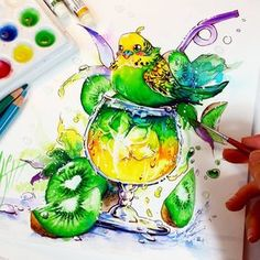 BUDGIE BUDGIE Drink with Kiwi flavour ♡♡♡ It is available as original illustration at my Store -->> www. Amazing Drawings, Beautiful Drawings, Colorful Drawings, Cute Drawings, Amazing Art, Marker Kunst, Marker Art, Color Pencil Art, Bird Illustration