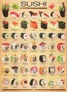 "I chose Eurographics amo ""sushi"" cartaz, Poster to represent Triadic Colors. Since Sushi is one of my favorite artistic treats. Seafood Recipes, Cooking Recipes, Cooking Corn, Cooking Beets, Cooking Steak, Recipes Dinner, Asian Recipes, Healthy Recipes, Cheap Recipes"