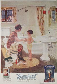 Standard Plumbing Fixtures Bathroom Ad Vintage by APaperReverie Vintage Advertisements, Vintage Ads, Vintage Posters, Retro Ads, Vintage Room, Vintage Home Decor, Vintage Homes, Vintage Kitchen, Vintage Bathrooms