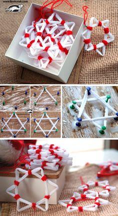 Yarn and PVA Glue CHRISTMAS STARS