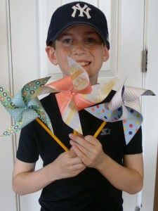 Spring Crafts - pencil stem, double sided scrapbook paper pinwheel