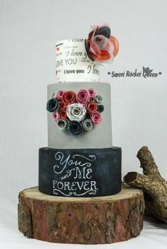 """You&MeForever A dummy cake that i did for some Valentine's courses that I'm going to teach in Italy. I have used two """"trendy techniques"""" creating this project: the """"chalkboard effect"""" and wafer paper, printed with various patterns as I usually..."""