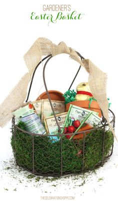 Adult easter basket inspiration easter baskets baskets and easter gardeners themed easter basket a creative easter basket idea for adults negle Gallery