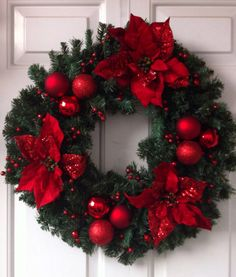 Red Poinsettia Wreath with Ornaments
