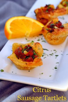 Citrus Sausage Tartlets- zesty, bite-sized appetizers for your spring party! | #sausage | www.savoryexperiments.com