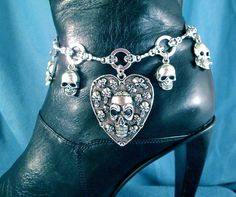 You can never have too many Skulls I always say. Multi Skulls in a Large Heart Motorcycle Boot Chains, great boot accessory.  Unique Handmade Gift