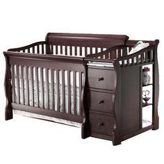 Dark crib and diaper changing station