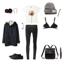 """""""Dusk and Haze"""" by n3ko ❤ liked on Polyvore featuring V AVE SHOE REPAIR, Helmut Lang, Acne Studios, Kate Spade, Humör, Le Mont St. Michel, backpack, flowers, gauges and simple"""