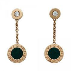"Boucles d'oreilles pendantes Bulgari modèle ""Bulgari Bulgari"" en or rose, diamant, jadéite."