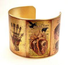Vintage Anatomical Drawings Brass Cuff Bracelet, Medical Jewelry, Vintage Medical Illustrations