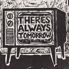 "Television,  11"" x 11"" woodcut by Kent Ambler"
