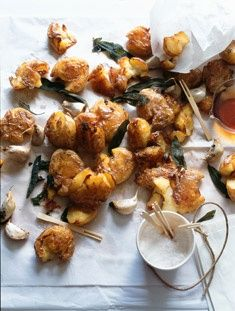 Garlic and Sage Crispy Potatoes - Donna Hay Potato Dishes, Potato Recipes, Vegetable Recipes, Food Dishes, Side Dishes, Vegetarian Recipes, Cooking Recipes, Healthy Recipes, Ovo Vegetarian