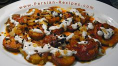 Eggplant, yogurt, tomatoe sauce, onions and mint. Kashke Bademjan