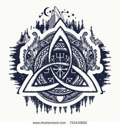 Dragons, symbol of the Viking. Helm of Awe, aegishjalmur, celtic trinity knot, northern ethnic style, tattoo. Dragons and Celtic knot, tattoo and t-shirt design