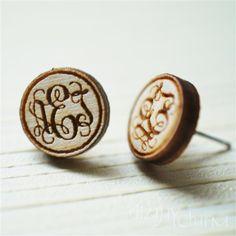 vine monogram personalized (itty bitty wooden post earrings). $12.00, via Etsy.