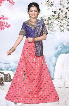 600161c4dc Pink Banarasi Silk Party Wear Embroidery Work Girls Lehenga Choli - Kesari  Exports Product Code :
