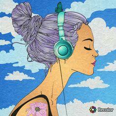 Girk listening to music outside