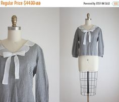 VACATION SALE. 1950s gingham bow blouse