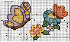 Web Artesã: 16 Gráficos de Borboleta para Bordar em Ponto Cruz Simple Cross Stitch, Cross Stitch Charts, Cross Stitch Patterns, Brother Innovis, Butterfly Cross Stitch, Butterfly Flowers, Needle And Thread, Cross Stitching, Diy And Crafts