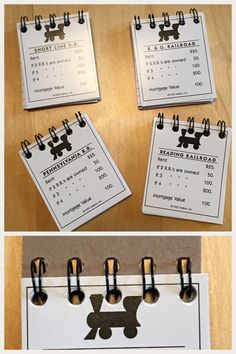These property cards from one of the world's most popular games are given a new life in these mini notebooks. Perfect for keeping score on game night, purses, pockets, backpacks and every time you want to jot something down! Game Night Parties, Most Popular Games, Journal Notebook, Monopoly, Notebooks, Board Games, Free Printables, Party Favors, Place Card Holders