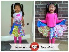 Surround Me With Love Skirt by The Plucky Butterfly Designs - Size to Girls Skirt Patterns, Sewing Patterns Girls, Pattern Sewing, Sewing Clothes, Custom Clothes, Hello Kitty T Shirt, Twirl Skirt, Girls Dresses, Summer Dresses