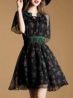 Shop Black Tie Neck Sheer Print Dress online. SheIn offers Black Tie Neck Sheer Print Dress & more to fit your fashionable needs.