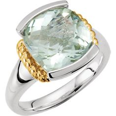 Sterling Silver & 14K Yellow Green Quartz Ring #mystullerstyle p.335