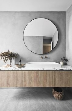 This modern beach house in Bondi boasts concrete floors, exposed brick wall and . - This modern beach house in Bondi boasts concrete floors, exposed brick wall and timber finishes to - Bad Inspiration, Decoration Inspiration, Decoration Design, Bathroom Inspiration, Decor Ideas, Neoclassical Interior, Bathroom Layout, Bathroom Interior Design, Bathroom Ideas