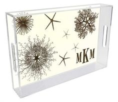 T1299- #Sea #Urchins #Personalized Lucite #Tray priced from $80.00 This is one of our new products that is great for #summer and comes in different sizes!