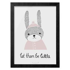 "Too Cute! ""Let them be little"" Bunny print Framed Size 20x30cm"