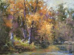 """Nancy Nowak, """"Moment's Peace,"""" 2016, pastel on UArt paper with watercolor underpainting and variety of pastel brands, 9 x 12 in. Notice how the area around the lightest part of the foliage is actually neutral colors. This was purposely done as light colors appear brighter when next to grays. This painting was juried into The American Impressionist Society 2016 Exhibition in September."""