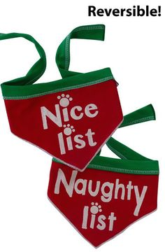 """""""Making a List and Checking it Twice"""" Whimsical """"Naughty List or Nice List"""" Festive Holiday Reversible Scarf Bandana for Dogs in color Red/Green Sizes Available: Small and Large ( See Chart Below) Mea"""