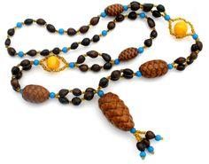 "Hawaiian Nut Bead Tassel Necklace Glass Hand Made Vintage 31"" Long #Unbranded #Lei"