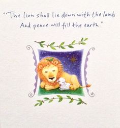 "Lion & Lamb Christmas card by Carlton Cards. Inside message = ""God grant you His peace and love at Christmastime and throughout the year."""