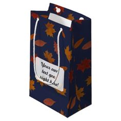 Autumn Leaves with Custom Color and Text Small Gift Bag - autumn gifts templates diy customize