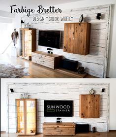 Farbige Holzbretter Als Wände   Einrichtungsideen, Wohnzimmer Ideen,  Holzwände, Weiße Holzbretter, Design