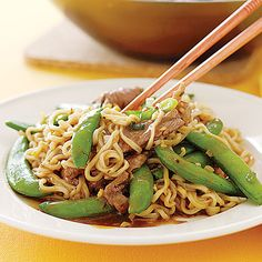 Sirloin-Snap Pea Stir-Fry made with ramen!! Follow the link for 27 ways to use ramen (without the nasty flavor packet)