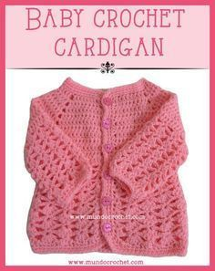 Baby crochet cardigan or sweater. Free pattern from Mundocrochet.com