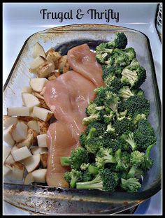Olive oil on bottom. Cover with foil. 1 hour at 350. Remove broccoli and bake an additional 10 minutes