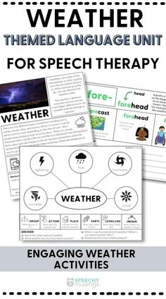If you are looking for a fun and unique way to get your speech therapy students engaged in your speech or language therapy lessons, try out this weather themed language therapy unit! This themed language therapy unit includes a wide variety of materials and resources for your students with language goals using a relatable and engaging WEATHER theme! Weather Activities, Speech Therapy Activities, Language Activities, Receptive Language, Speech And Language, Figurative Language Activity, Group Action, Students, The Unit