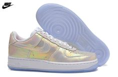 0414ee94024f2 Mens Nike Air Force One 07 Low Premium PRM QS Iridescent Pack Shoes White  White Metallic Silver 704517-100