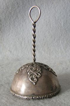 Antique  Filigree Sterling Silver Dinner Bell