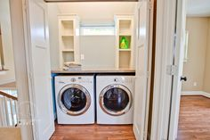 laundry in a closet in the bedroom | Here is one of the smaller bedrooms, perfect for a kiddo. Again, I'm ...