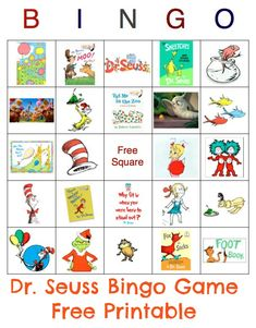 Free Dr. Seuss Bingo Printable.  Includes 10 game boards. BINGO game for kiddos at baby shower (Family-oriented Baby Shower)