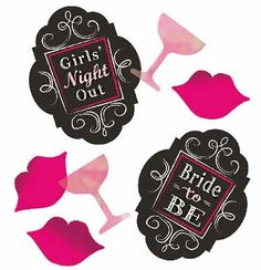 Our Bridal Bash Confetti is perfect for Bachelorette Party Decor or using in invites! Confetti includes Lips, Martini Glass, Bride To Be decals and more!