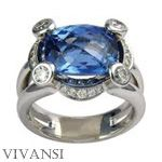 Superb ring from Vivansi, white gold, sapphire and diamonds