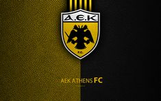 Download wallpapers AEK Athens FC, 4k, logo, Greek Super League, leather texture, AEK emblem, Athens, Greece, football, Greek football club Sports Wallpapers, Leather Texture, Corinthian, Porsche Logo, Logos, Fifa, Club, Athens, Mask Template